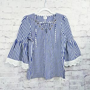 CUPIO Blue and white striped Bell Sleeve Top